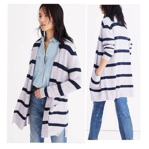 MADEWELL Kent Cardigan Open Front Cardigan Sweater in Stripe Navy Gray Small